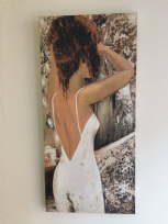 Oil on Canvas Woman with Red Hair in Backless Dress Detailed Wall Art